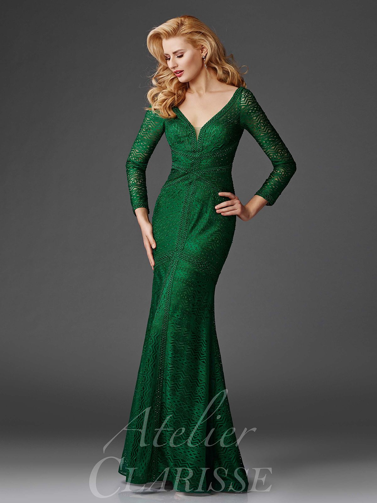 Forest Green Long Sleeve Evening Gown M6431 | Mother Of The Bride ...