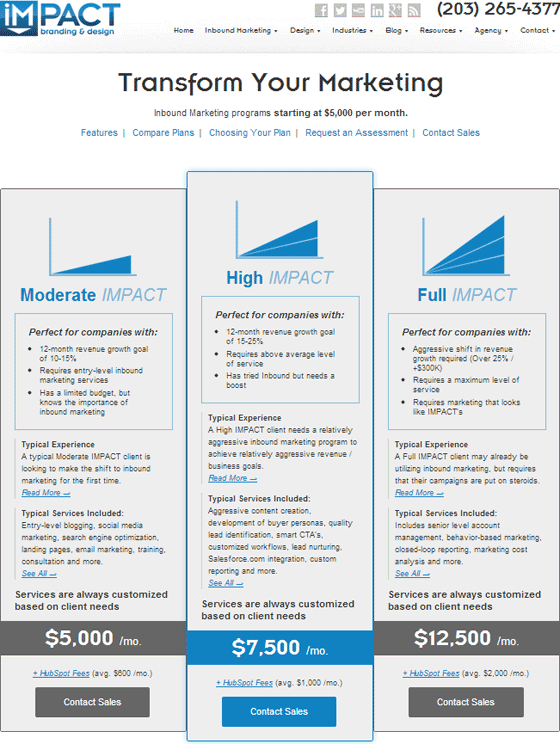 A Great Example Of A Pricing Page From Impact An Inbound
