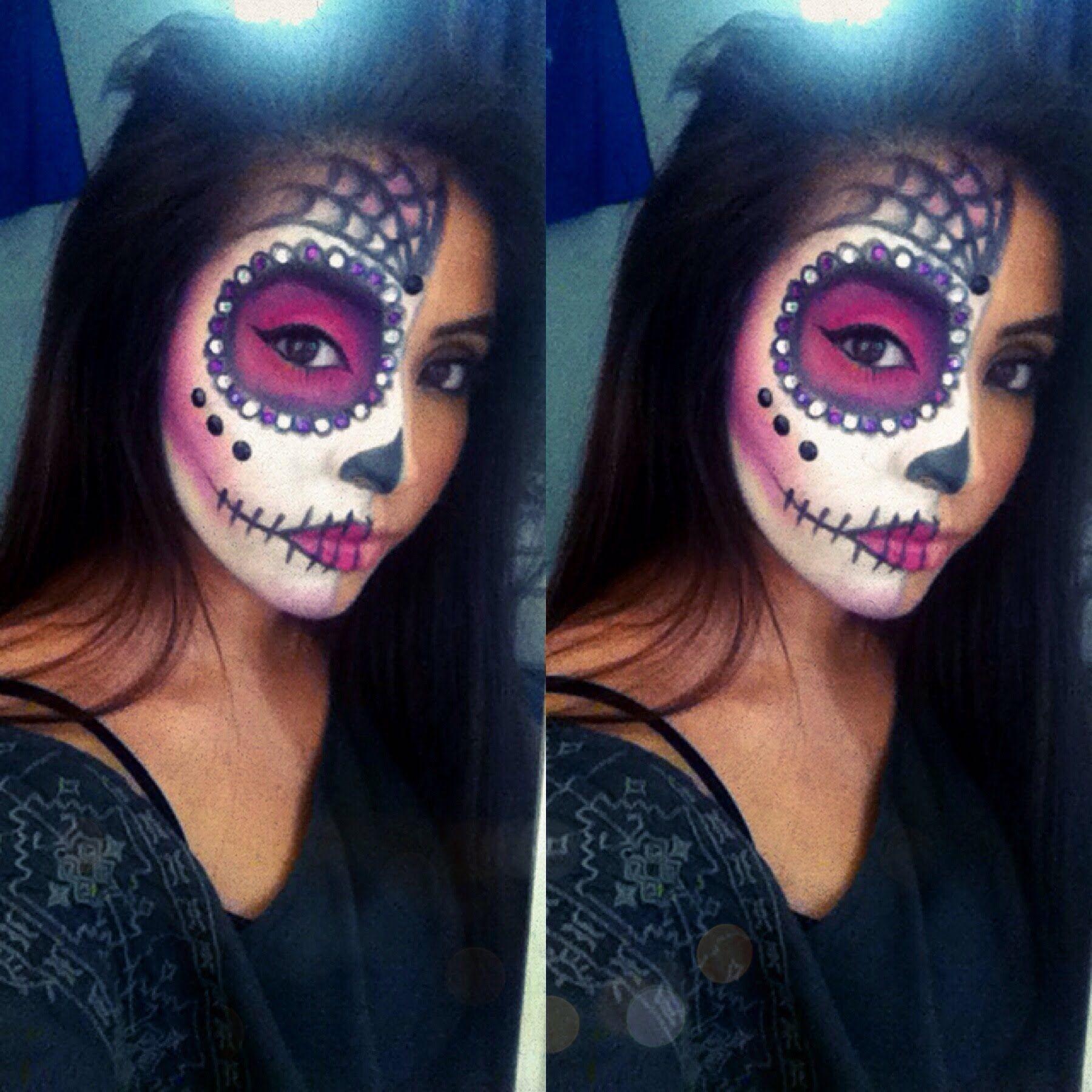 Easy Sugar Skull Halloween Tutorial Halloween Makeup Sugar Skull Sugar Skull Makeup Tutorial Sugar Skull Halloween