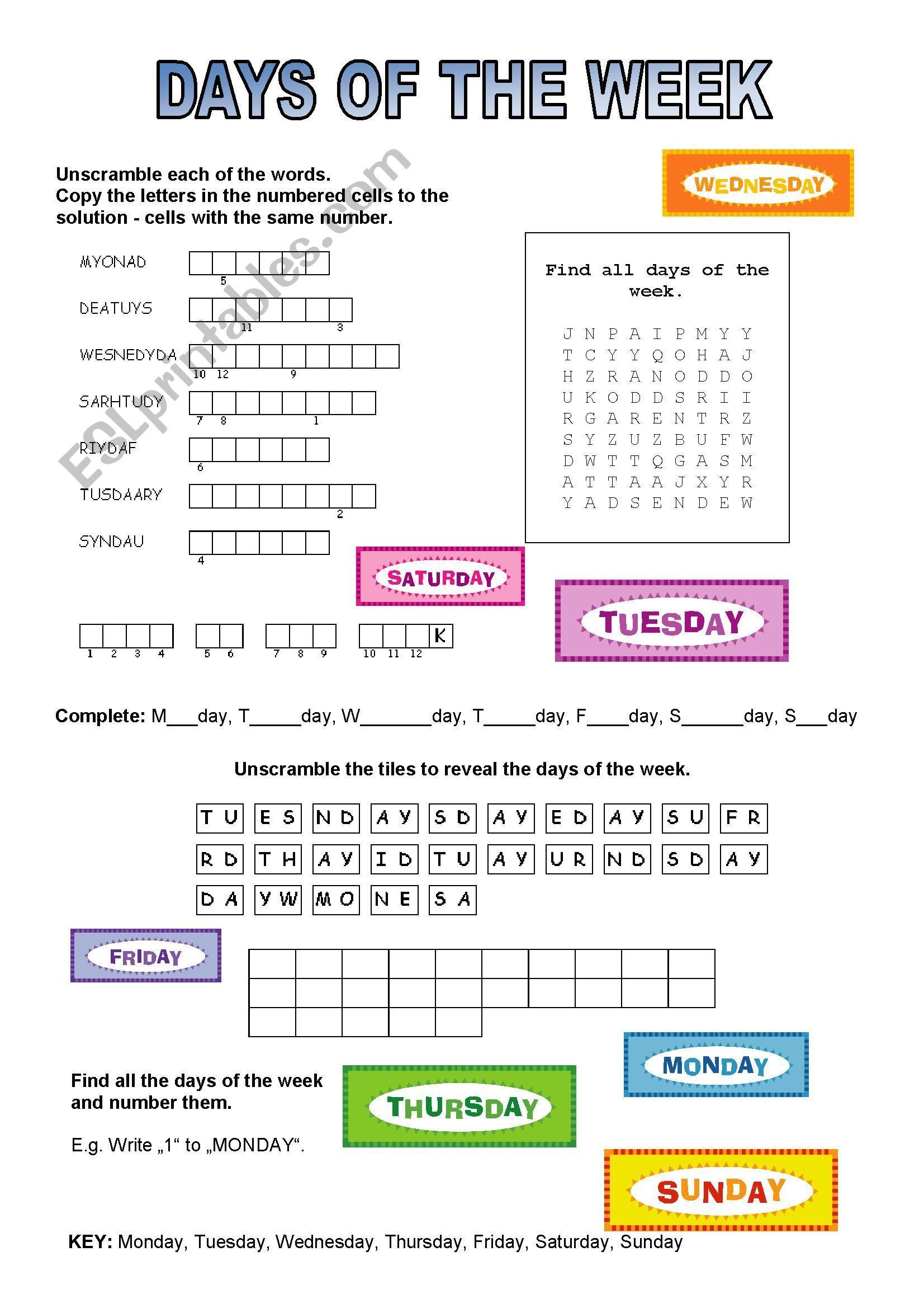 5 Days Of The Week Worksheet Printable Practices Worksheets Printable Worksheets Kindergarten Skills