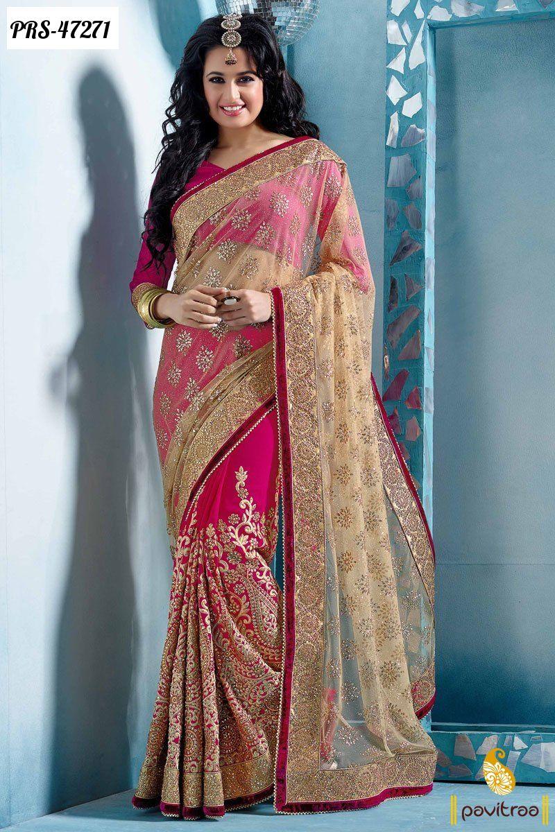 8bf3702da6 cream net designer wedding wear saree 2016 online collection at best Indian  price