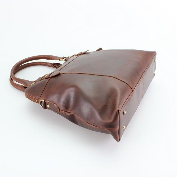 Large Brown Leather Handbag Bag Purse by TheLeatherStore on Etsy