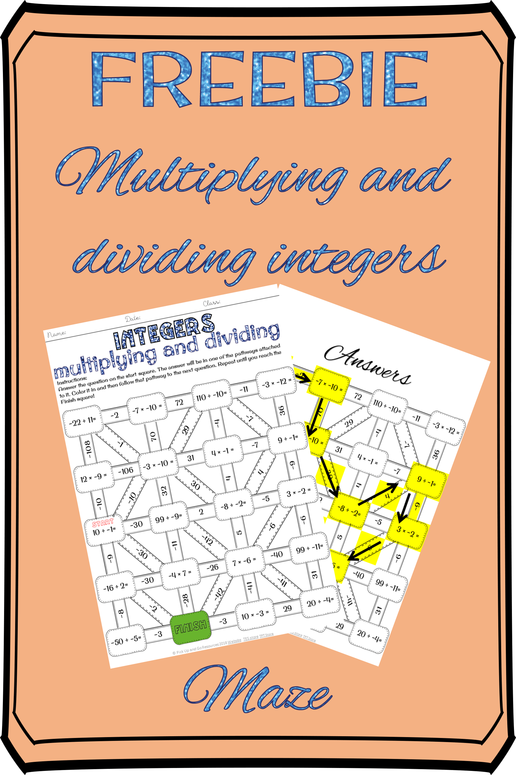 Multiplying And Dividing Integers Maze With Images