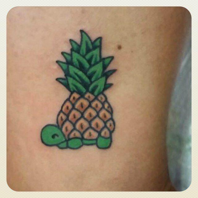 Small Henna Wrist Tattoos Sea Turtle And Lotus Infinity: Turtle Pineapple Tattoo On @sambambabycakes (With Images