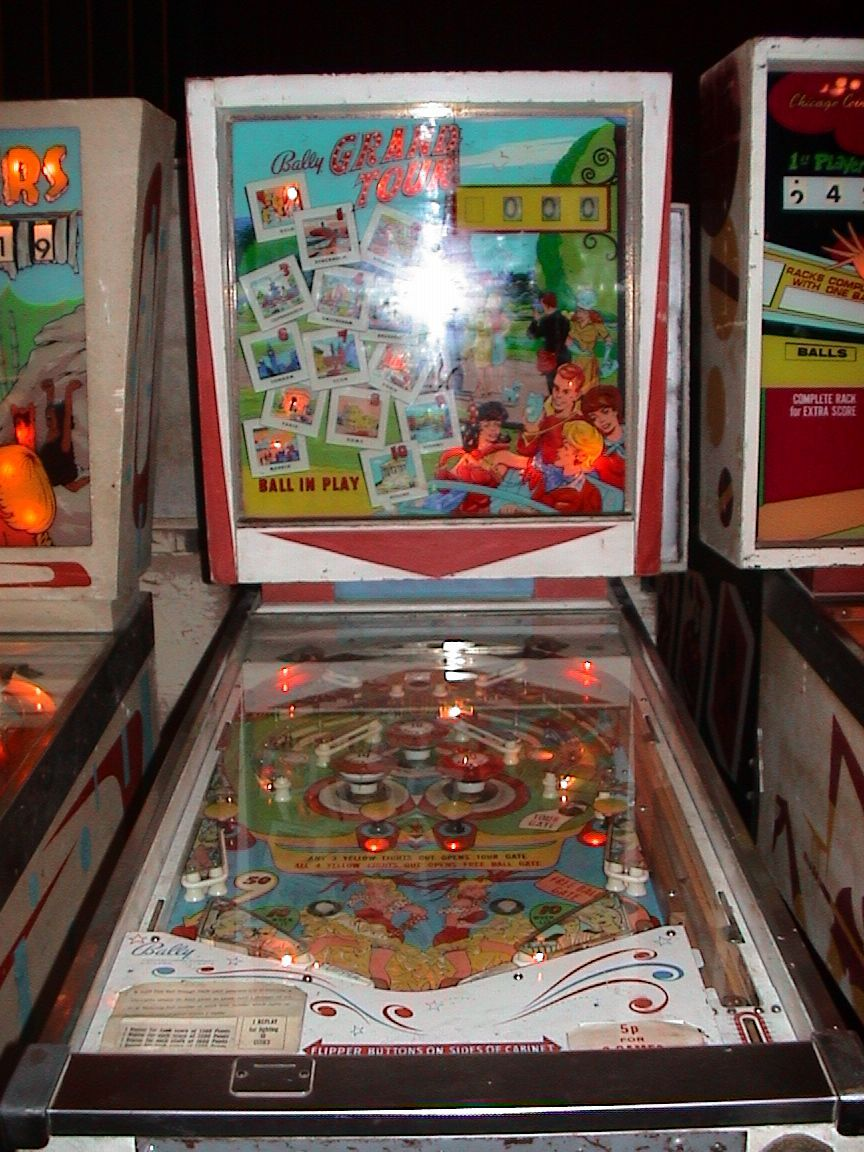 """Bally """"Grand Tour"""" pinball machine, 1964 We had this in our basement for some reason, it worked at one point."""