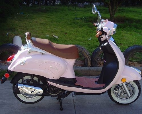 classic retro style pink 50cc scooter tickled pink. Black Bedroom Furniture Sets. Home Design Ideas