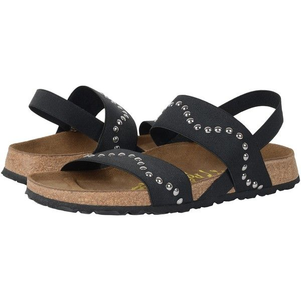 414c94cda631f Birkenstock Caterina (Wave Black Stretch) Women's Sandals ($110) ❤ liked on  Polyvore featuring shoes, sandals, low heel evening shoes, black sandals,  ...