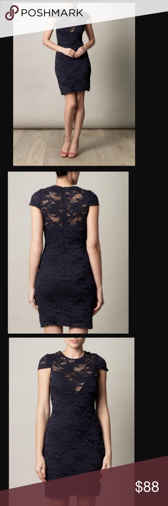 L Agence Navy Blue Crochet Lace Stretch Dress Stretch Dress Dresses Stretch Lace