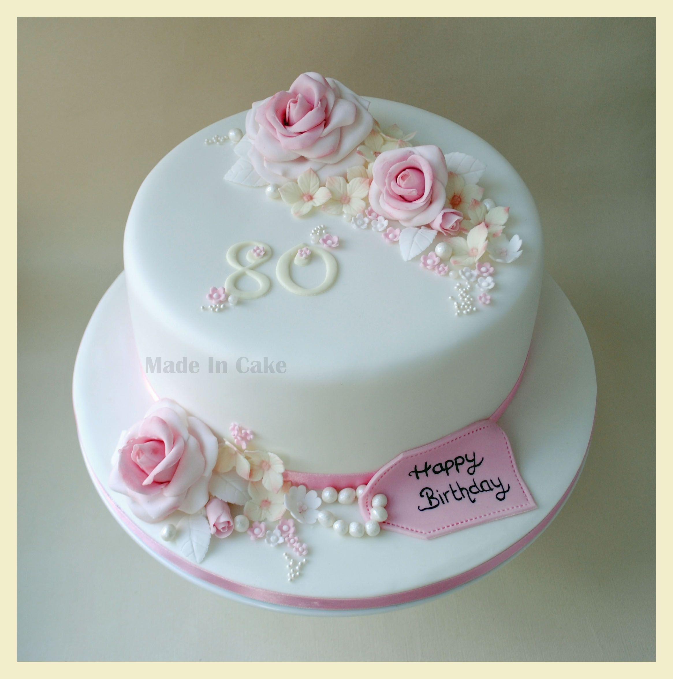 Admirable 32 Elegant Picture Of 80Th Birthday Cake Ideas 80 Birthday Cake Personalised Birthday Cards Bromeletsinfo