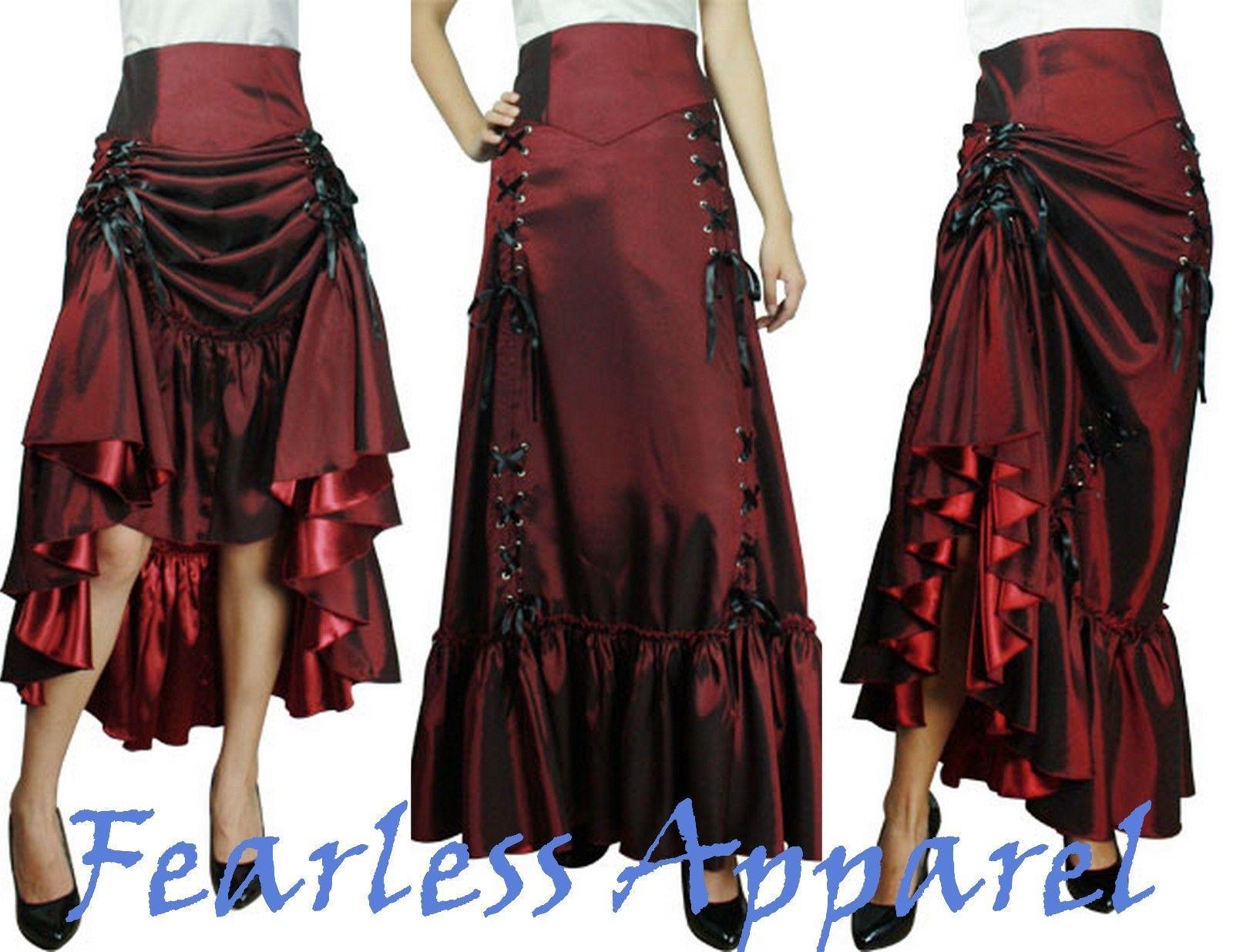 Three Way Lace Up Renaissance Skirt Burgundy Red Gothic Victorian Steampunk Punk | eBay