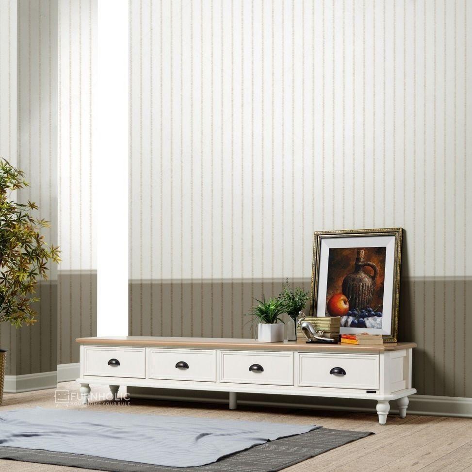 Marsha Low Tv Cabinet 4 Drawers Kabinet Tv Desain Pendek Agar Ruangan Tampak Lebih Luas Panel Atas Diwa Living Room Trends Furniture Arrangement Room Layout