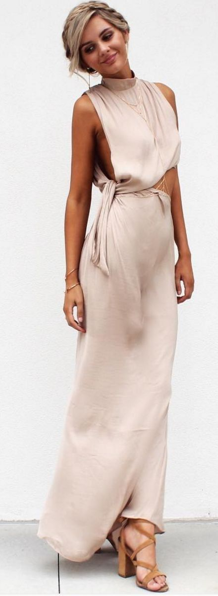 #spring #summer #fashion #outfitideas Nude Maxi Dress