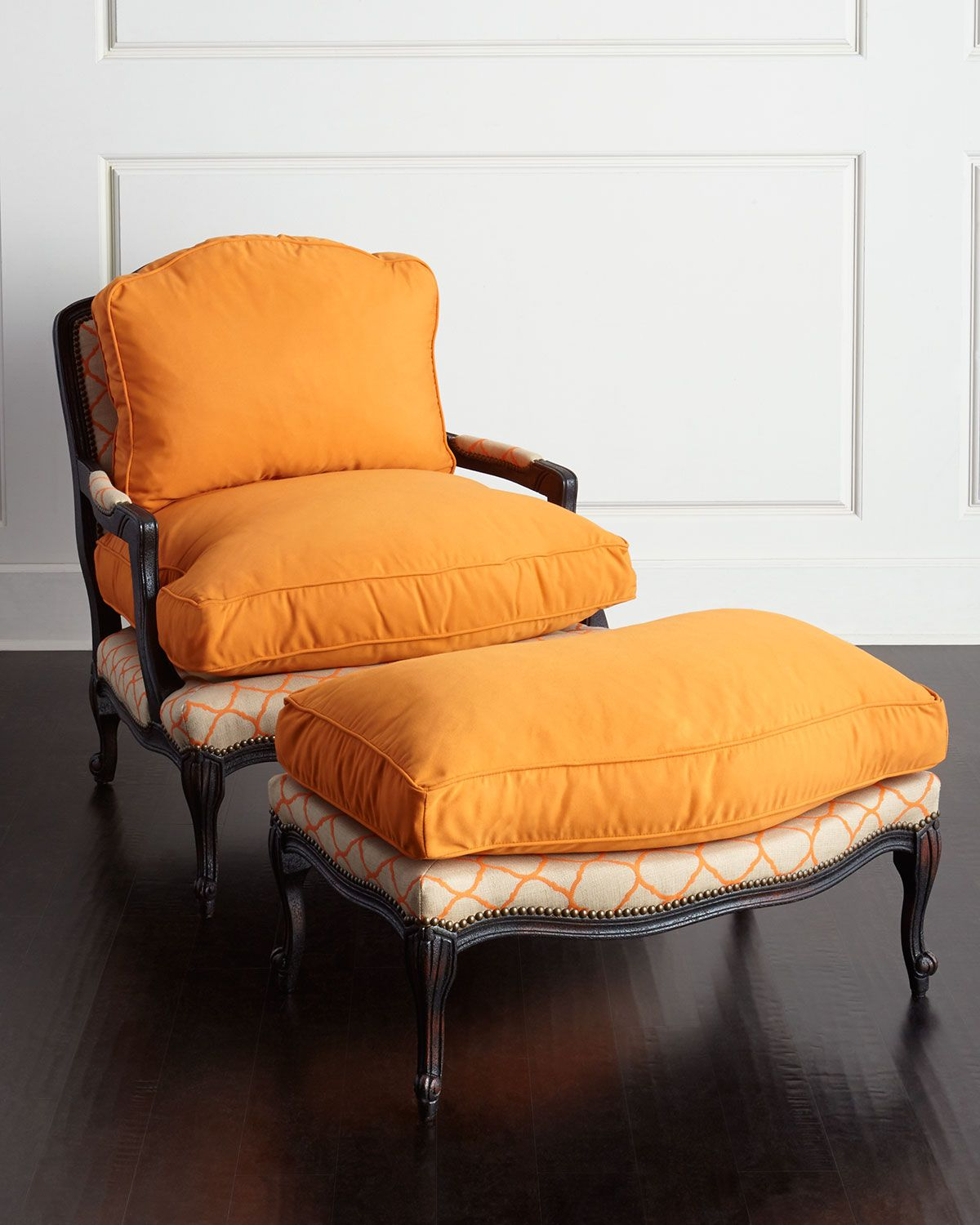 Bergere chair and ottoman - Old Hickory Tannery Clementine Bergere Chair Ottoman