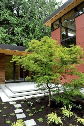 Low Profile Exterior Extending Down Hill With Images Modern Landscaping Japanese Garden Design Modern Landscape Design
