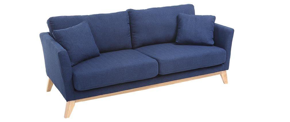 Canapé scandinave 3 places bleu foncé pieds bois OSLO DECO SALON