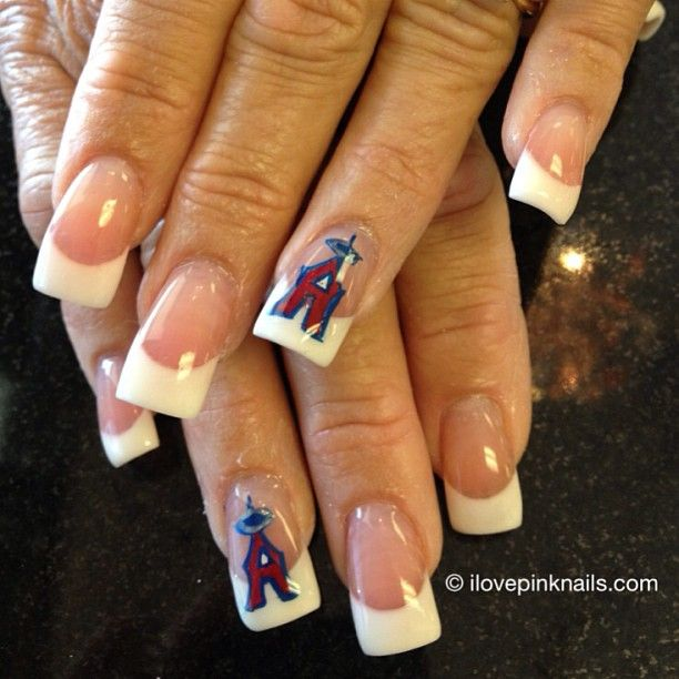 Los Angeles Angels Nails Angel Nails French Manicure Nail Designs Sports Nails