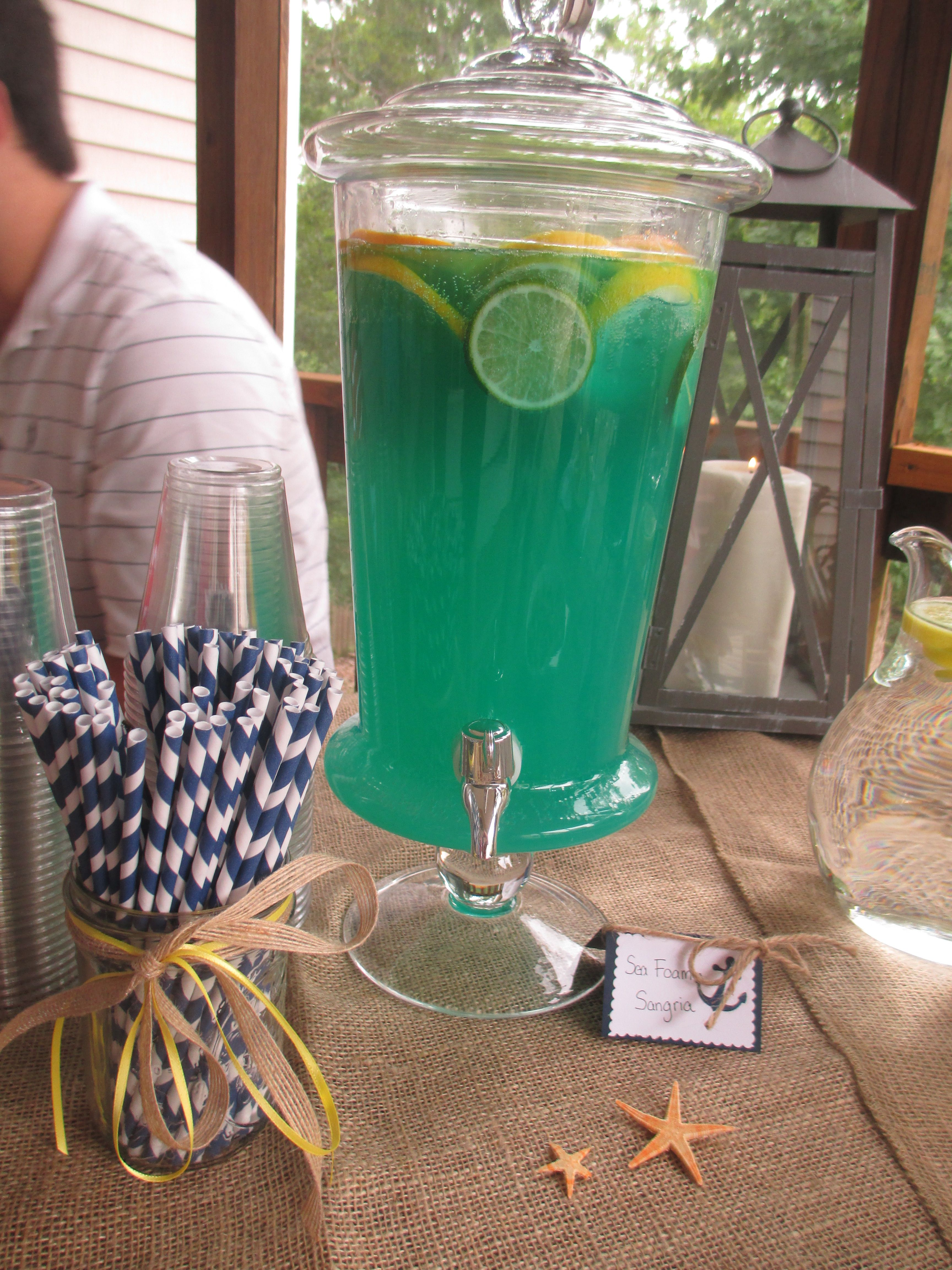 Nautical Themed Drinks Seafoam Sangria, It Is Actually The Fishbowl
