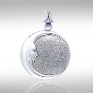 Mother Moon Silver Pendant TPD001 - The Mother Moon with her kind face and crescent points circling out to embrace the Universe is a pendant any woman would love to wear!