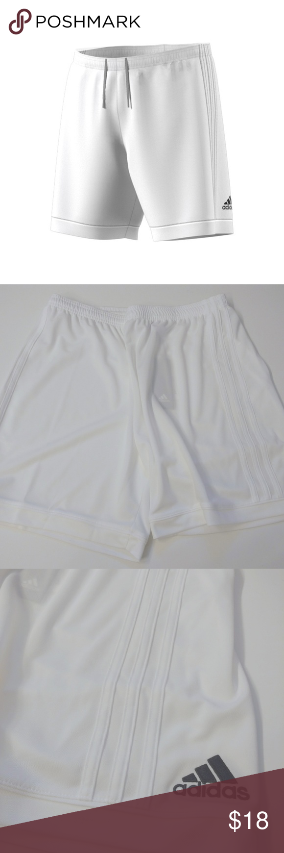 Adidas White Soccer Shorts Climalite 3 Stripes Condition  Brand new with  tags NWT Color  8b68e195b1c82