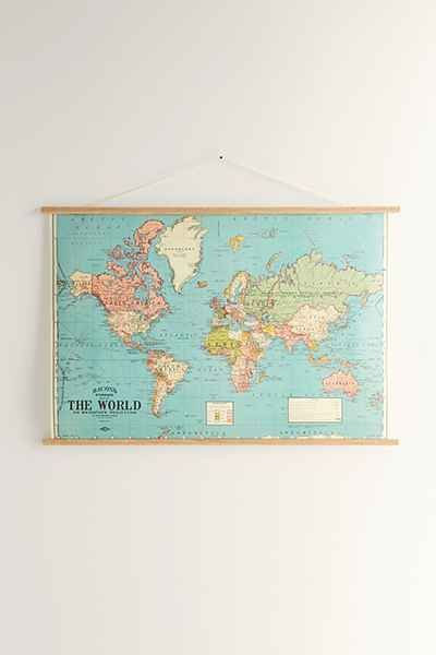 Hanging World Map Art Print | Spaces, Room and Room ideas