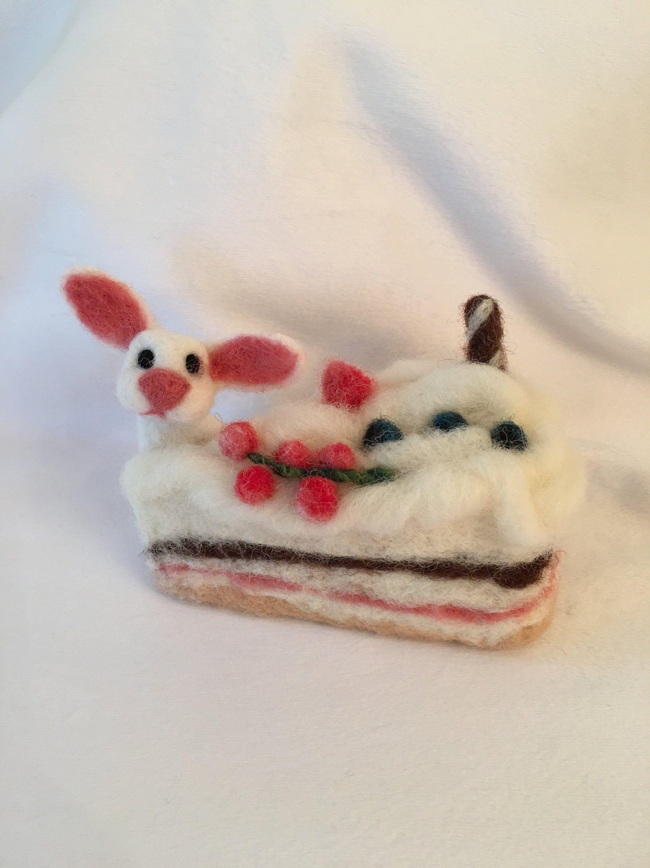 Needle Felted Cake, Cake Pincushion, Easter Bunny, Decorative Cake, Handmade wool dessert, needle felted cakes, needle felted food #needlefeltedbunny
