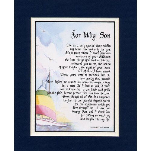 For My Son Touching 8x10 Framed Poem (Frame Is Solid Oak