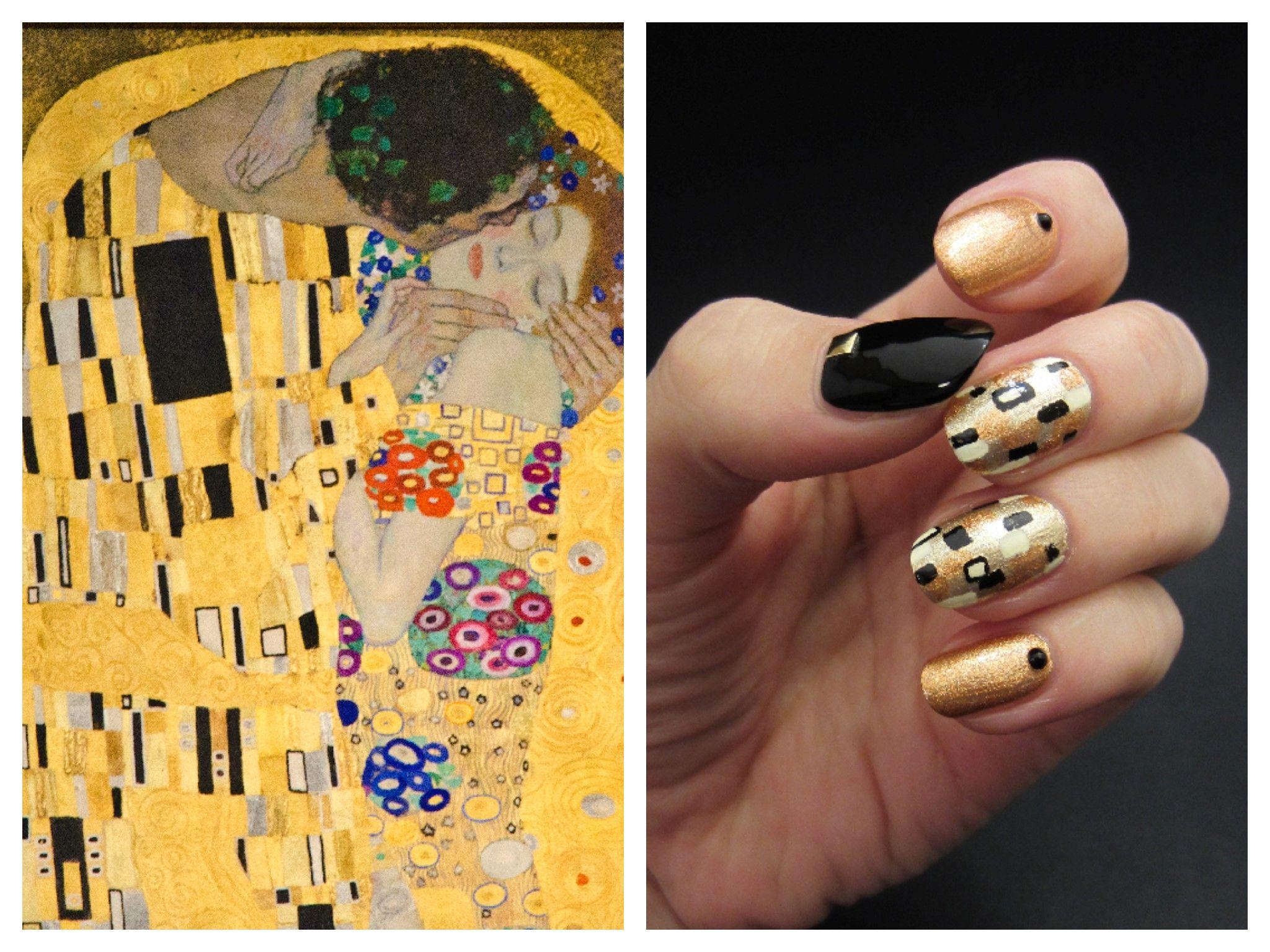 The Kiss by Gustav Klimt inspired nails | My Nail Art | Pinterest ...