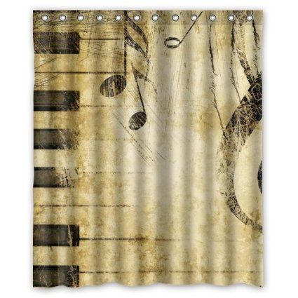 Cozybath Music Notes Waterproof Polyester Fabric 60 Quot W X