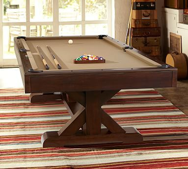 PB Charleston Pool Table, Espresso Finish With Olive Felt And Table Tennis  Cover Set, Black