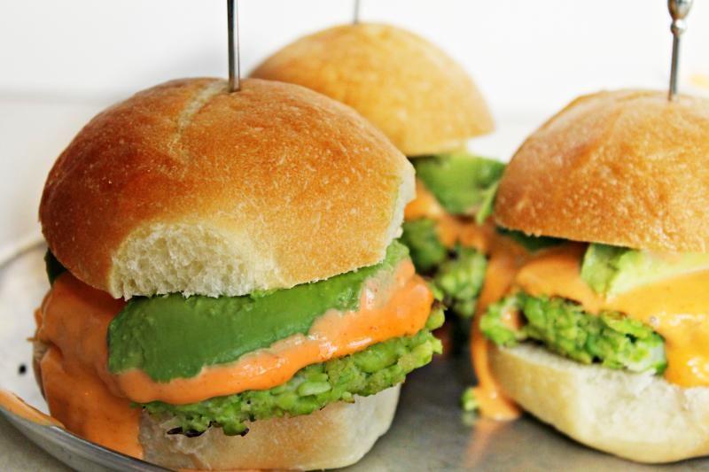 Edamame sliders with Sriracha mayo and avocado