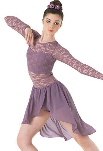 b0f895d764dc Balera Lyrical Dance Dress Long Sleeve Lace and Georgette with ...