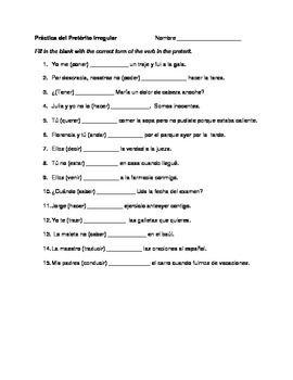 Spanish irregular preterite practice | Irregular verbs, Verb ...
