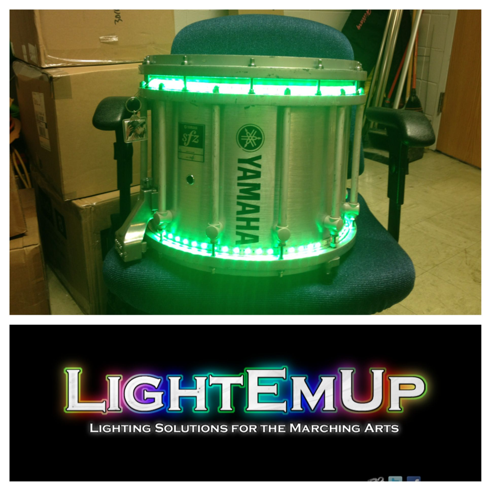 lightemup high density rgb wireless unit on a yamaha sfz marching snare. Black Bedroom Furniture Sets. Home Design Ideas