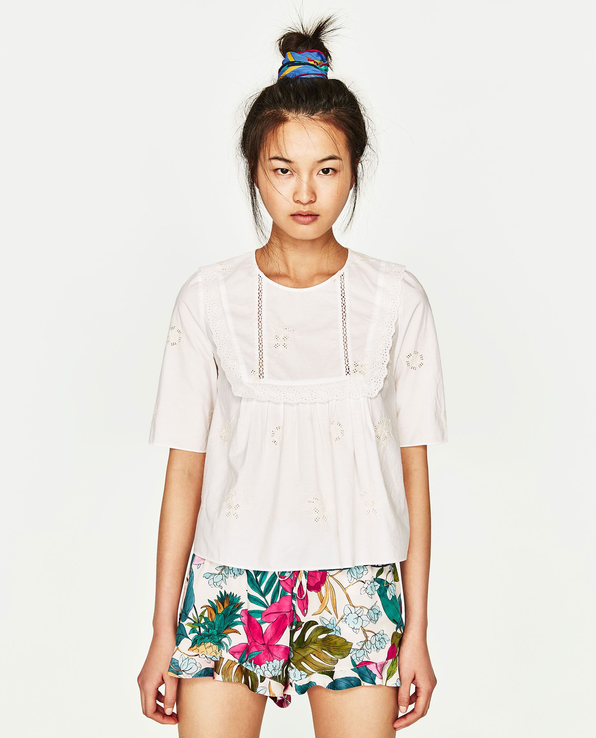 60d47f6b1c7f ZARA WHITE EMBROIDERED TOP   FLORAL SHORTS