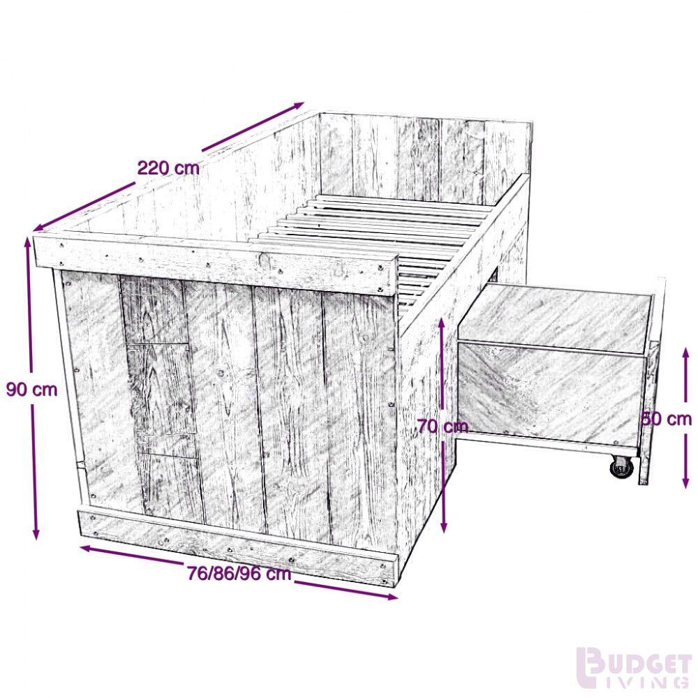 Beste bouwtekening steigerhouten bed met lades - Google zoeken (met DU-96
