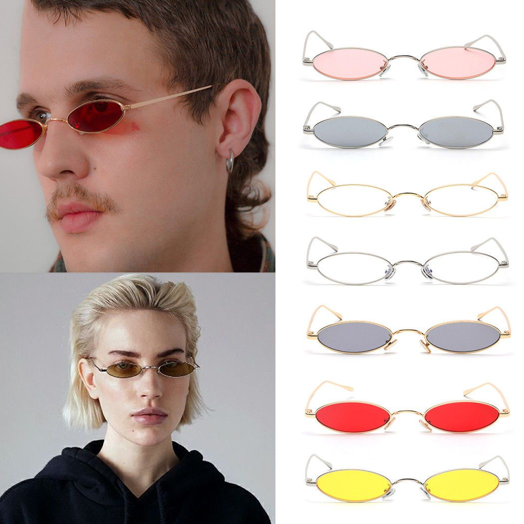 12c1dff6ce Women Small Oval Sunglasses Fashion Metal Frame Men Shades Eyeglasses  Eyewear Bk