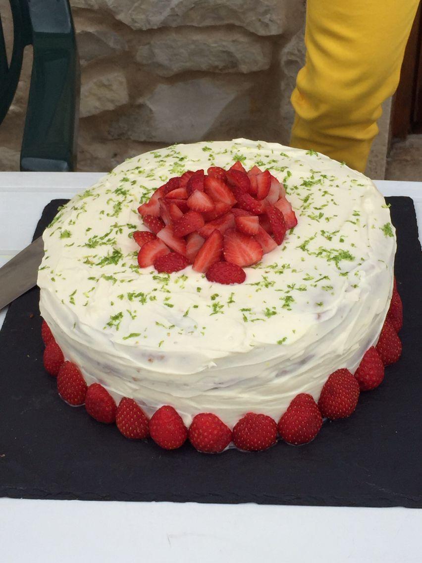 Homemade strawberry, lemon and basil layer cake.