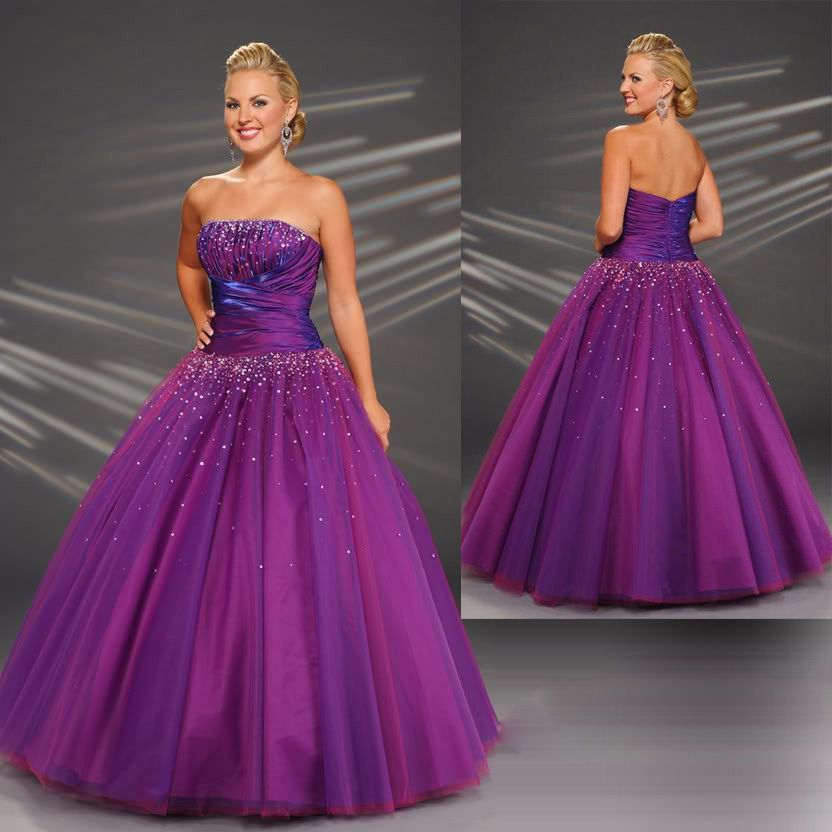 purple plus size bridesmaid gowns for wedding party prom ball ...