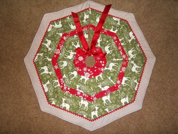 Handmade Quilted Tree Skirt 32 Wide Green Pearl By Krissyde