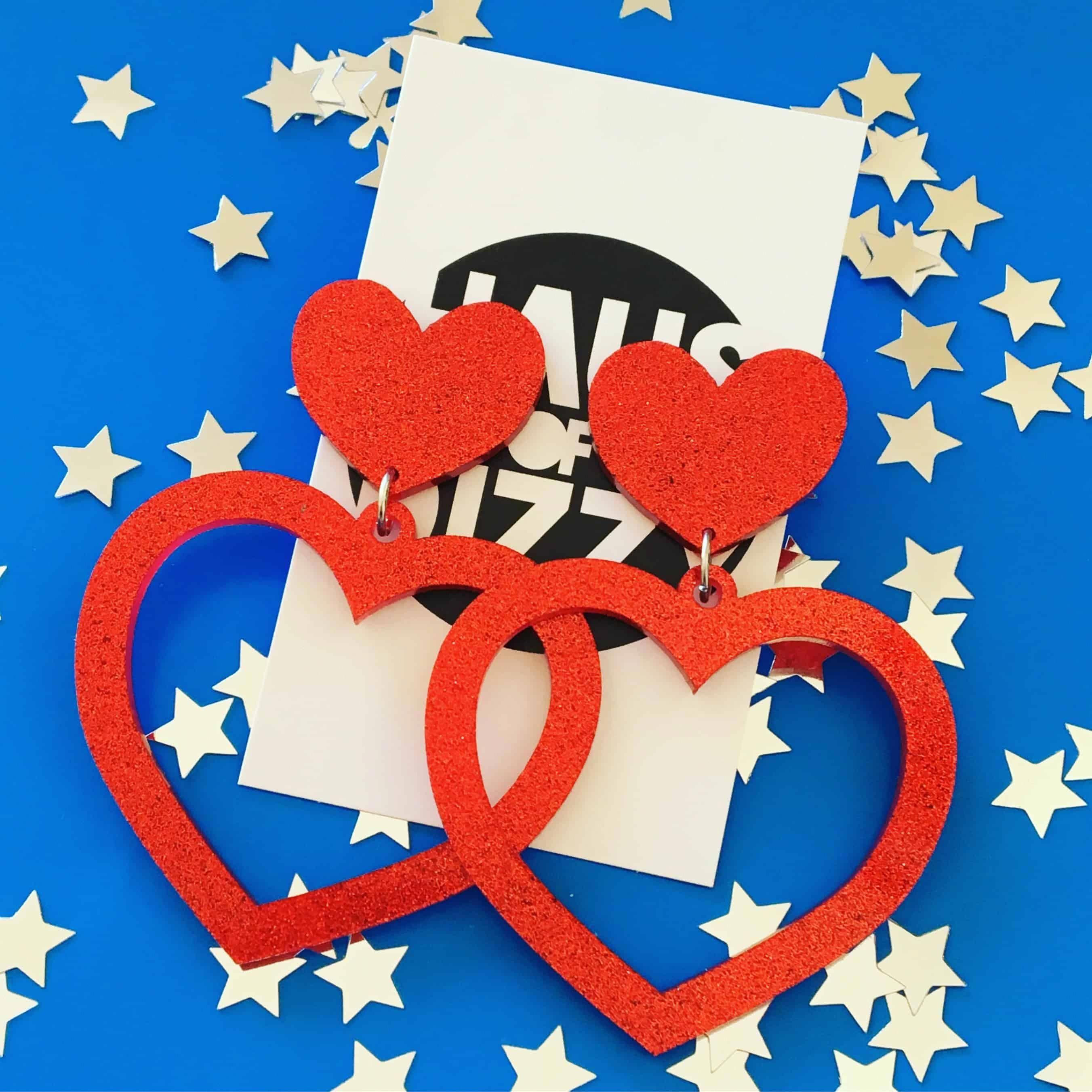 Red Glitter Barbie Hearts Heart earrings