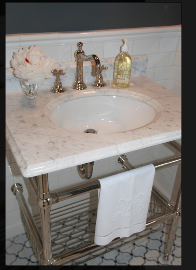 Sink console marble top chrome legs classy for Marble top console sink