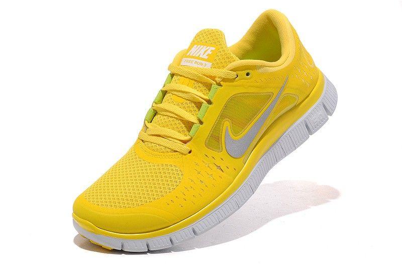 big sale 51dac 6de33 ... Shoes Hommes Nike Free Run +3 Totale Jaune De ChromeLogo Argent  Chaussure De Running ...