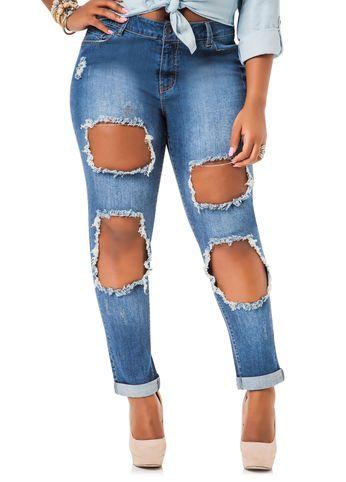 Cutout Holes Skinny Jeans | Plus Size Fashion | Pinterest | Skinny ...
