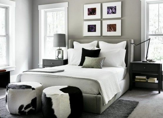 Captivating Traditional And Modern Style Combination For Home Interior: Black, White  And Gray Bedroom With