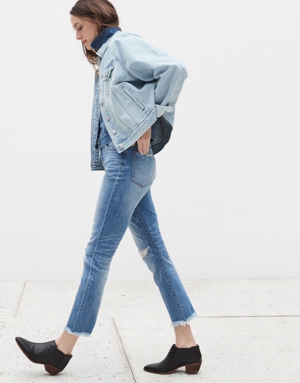 6cd95d941aa madewell perfect vintage jean worn with the myles ankle boot, the raglan  oversized jean jacket + the jean jacket.