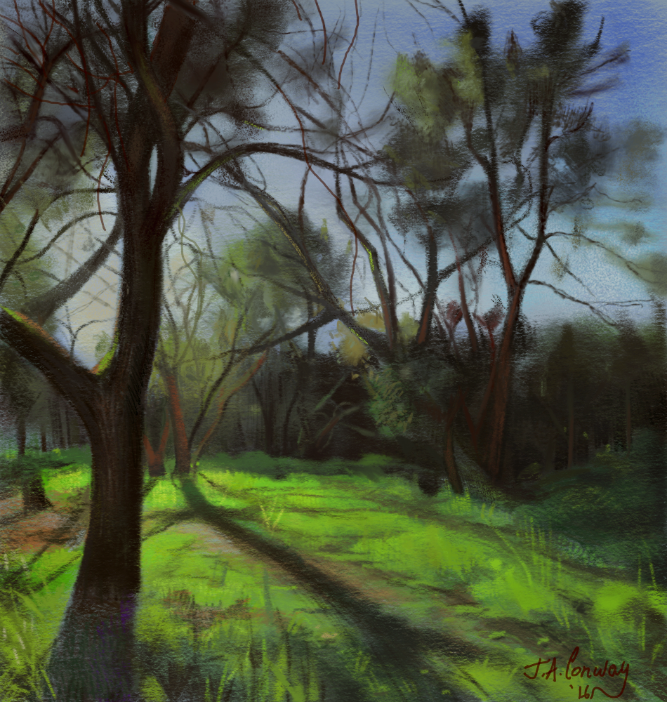 """Walking Back Home"" Digital painting done with the Apple"