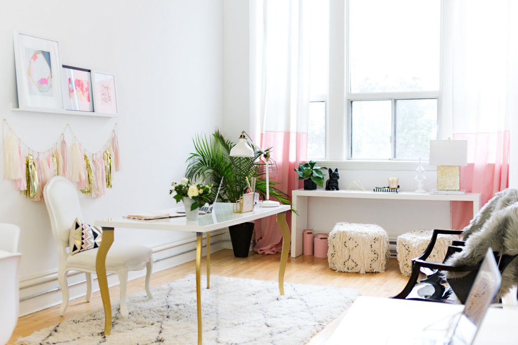 white airy home office. LOVELY Home Office And Love The Style Of Entire Space. Ashley Malone\u0027s Bright \u0026 Airy Workspace {Office Tour} White