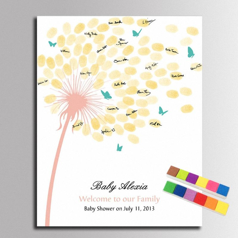 Guest BookFingerprint Baby Shower Decorations DIY Dandelion Canvas Painting Fingerprint For BabyShower Wedding Party Decoration