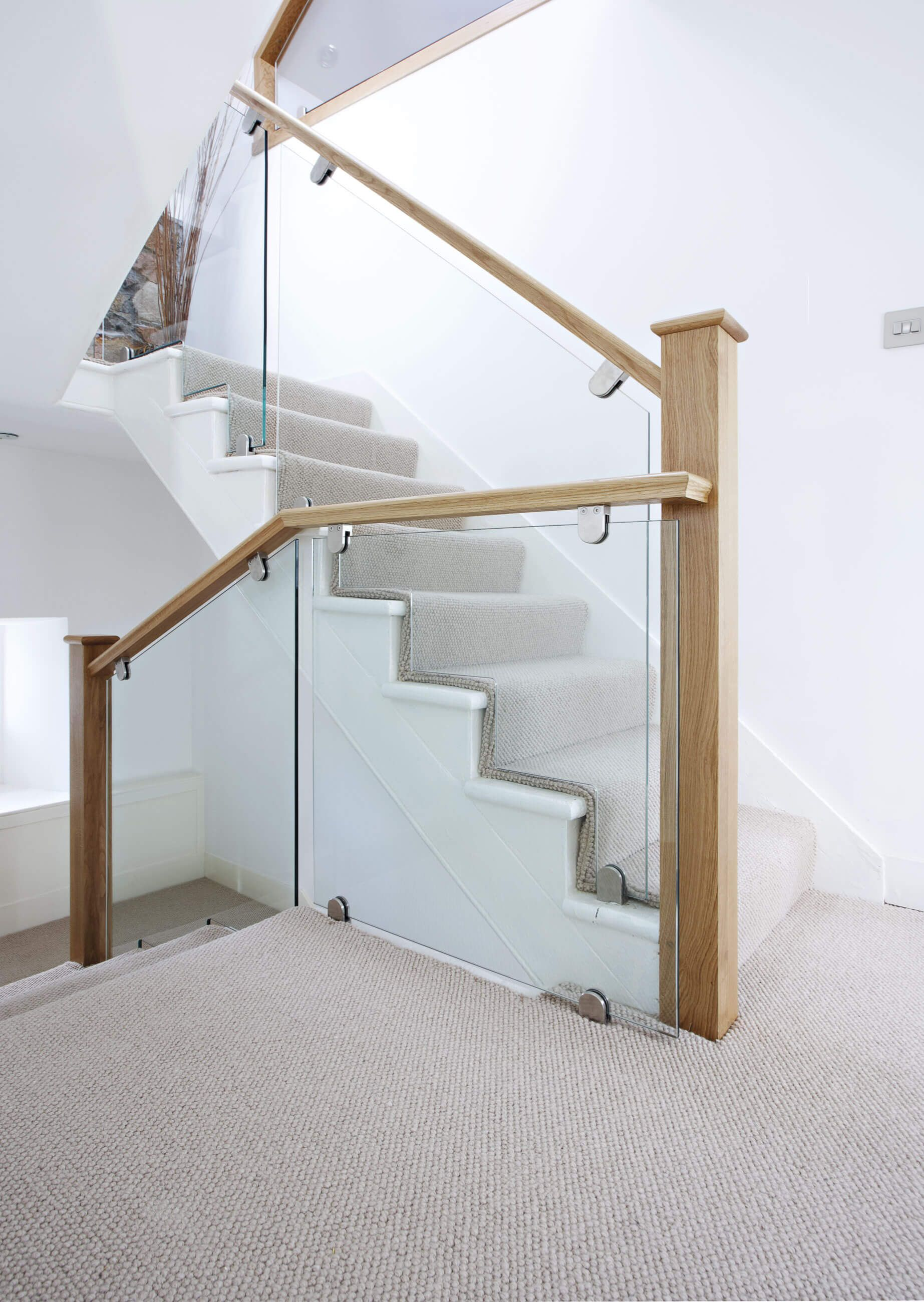 This Stunning Cut String Glass And Oak Staircase Is Handcrafted