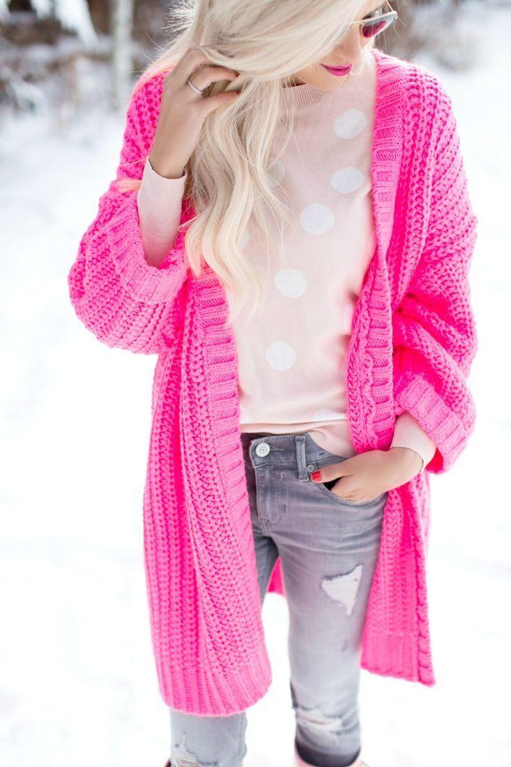 Neon Pink Oversized Cardigan | neon glow | Pinterest